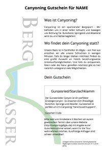 Canyoning BAyern Allgaeu Gutschein