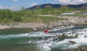 Wildwasser Abschnitt beim Rafting im Allgäu