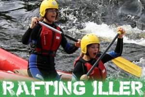 Rafting Gruppe auf der bayerischen Iller