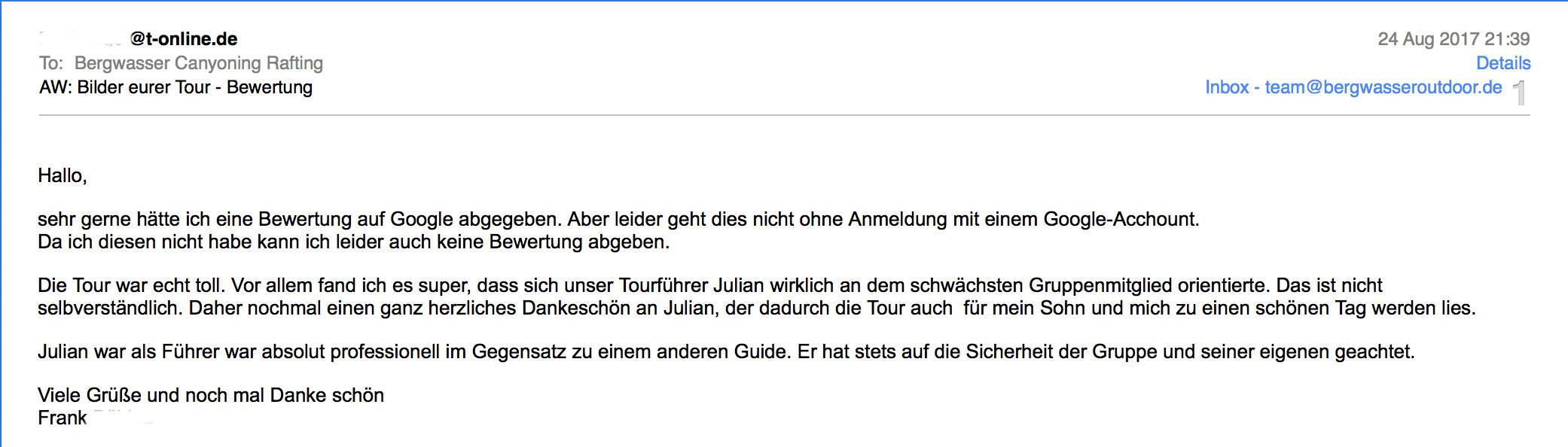 Rückmeldung einer Canyoning Deutschland Tour